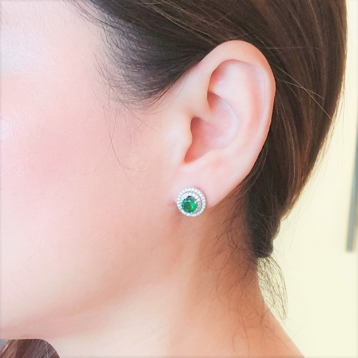 Green Double Halo Earrings