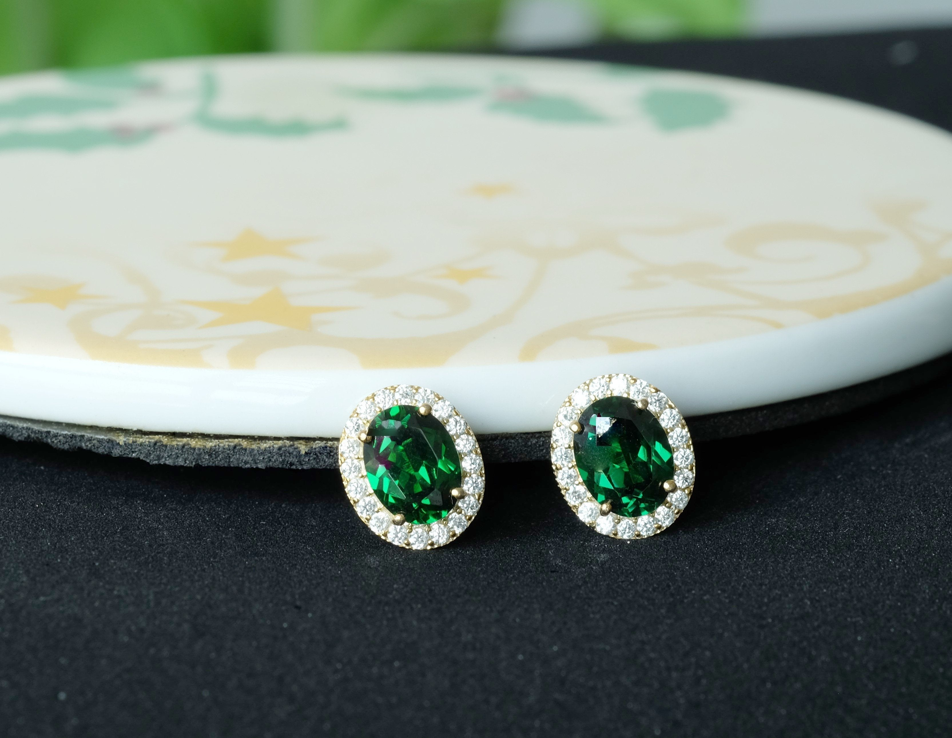 Enchant Green Oval Earrings