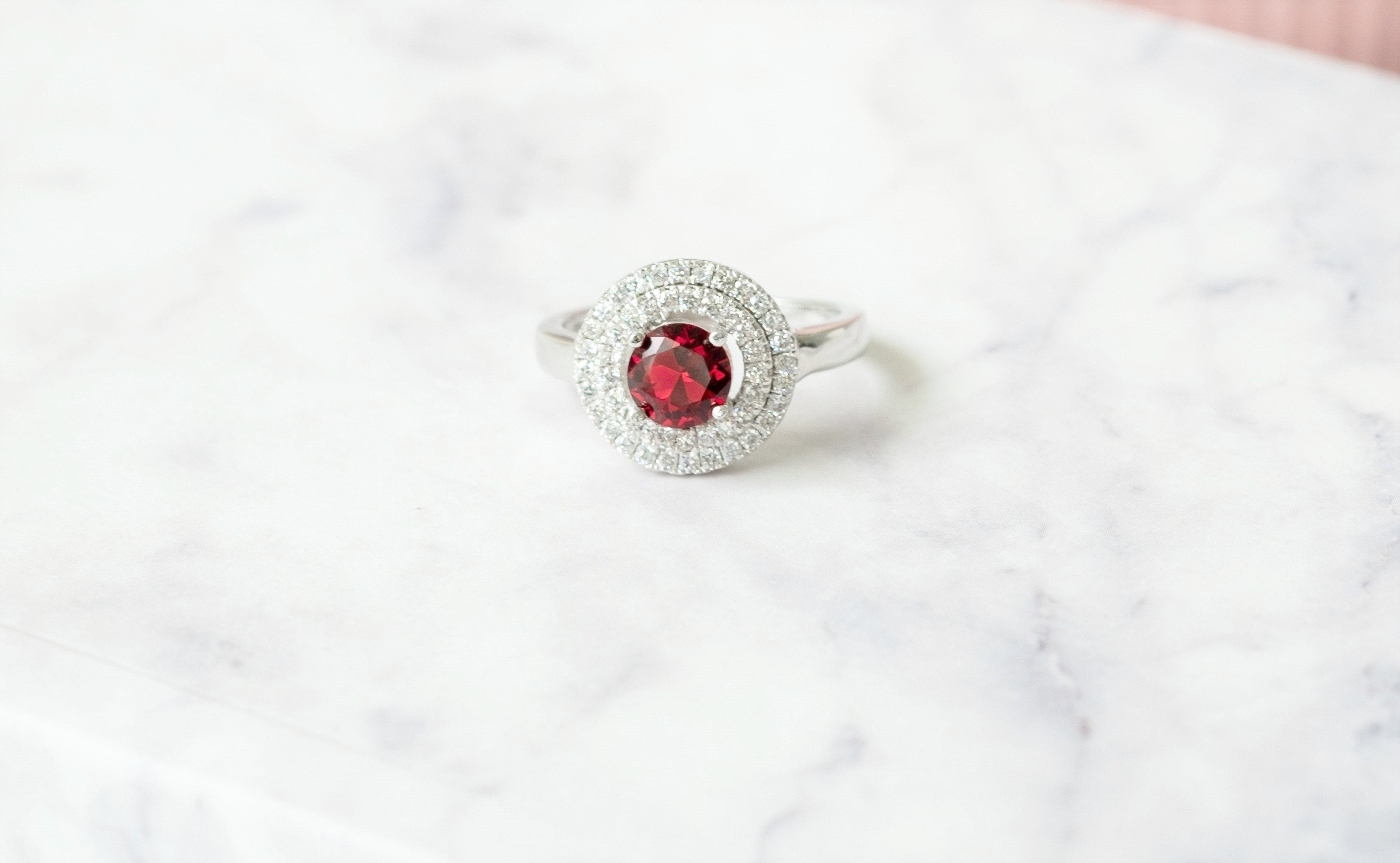 Goddess Astraea Enchant Red Double Halo Ring