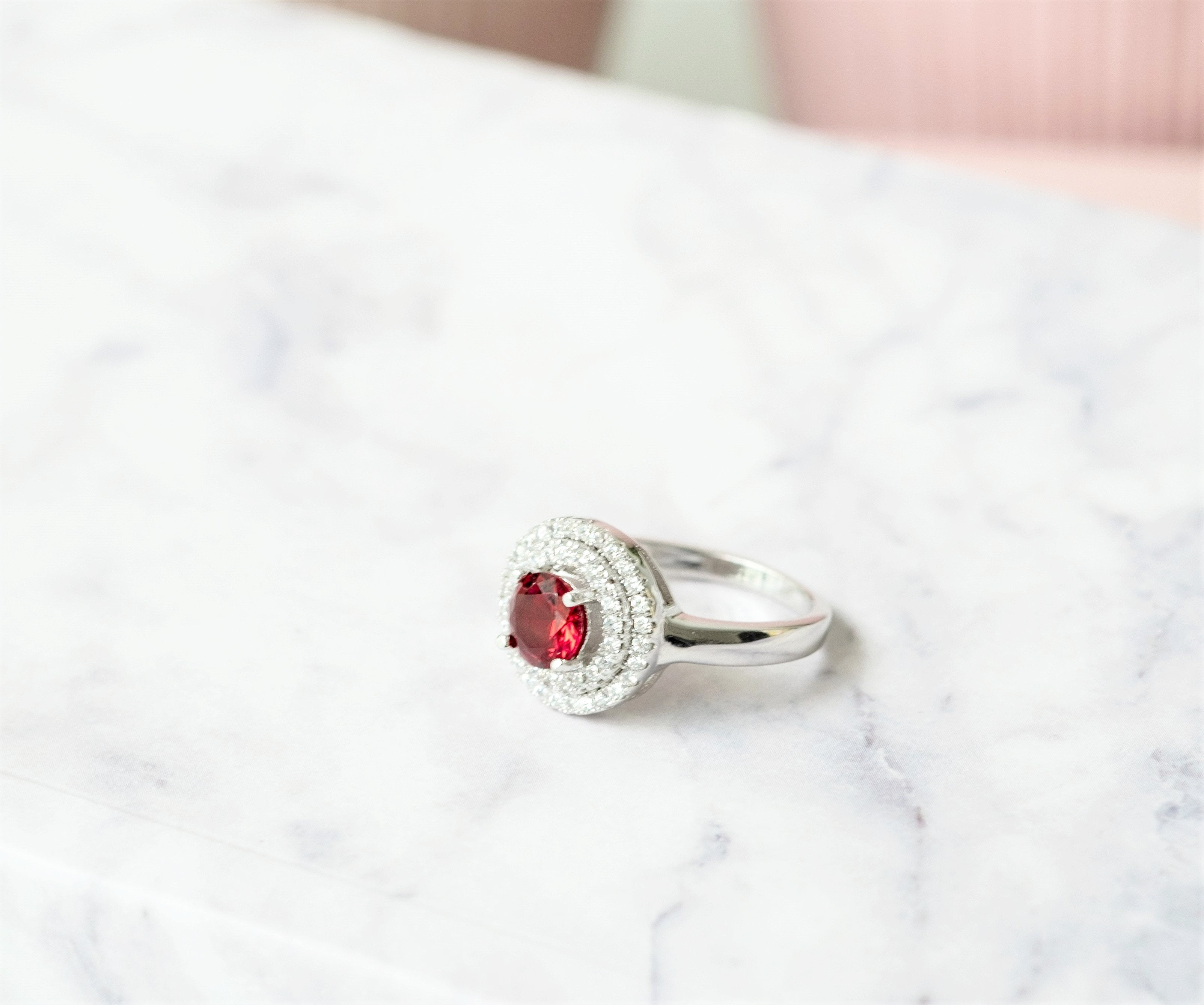 Goddess Astraea Enchant Red Double Halo Ring - LDC