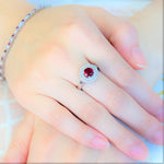 Red Double Halo Ring