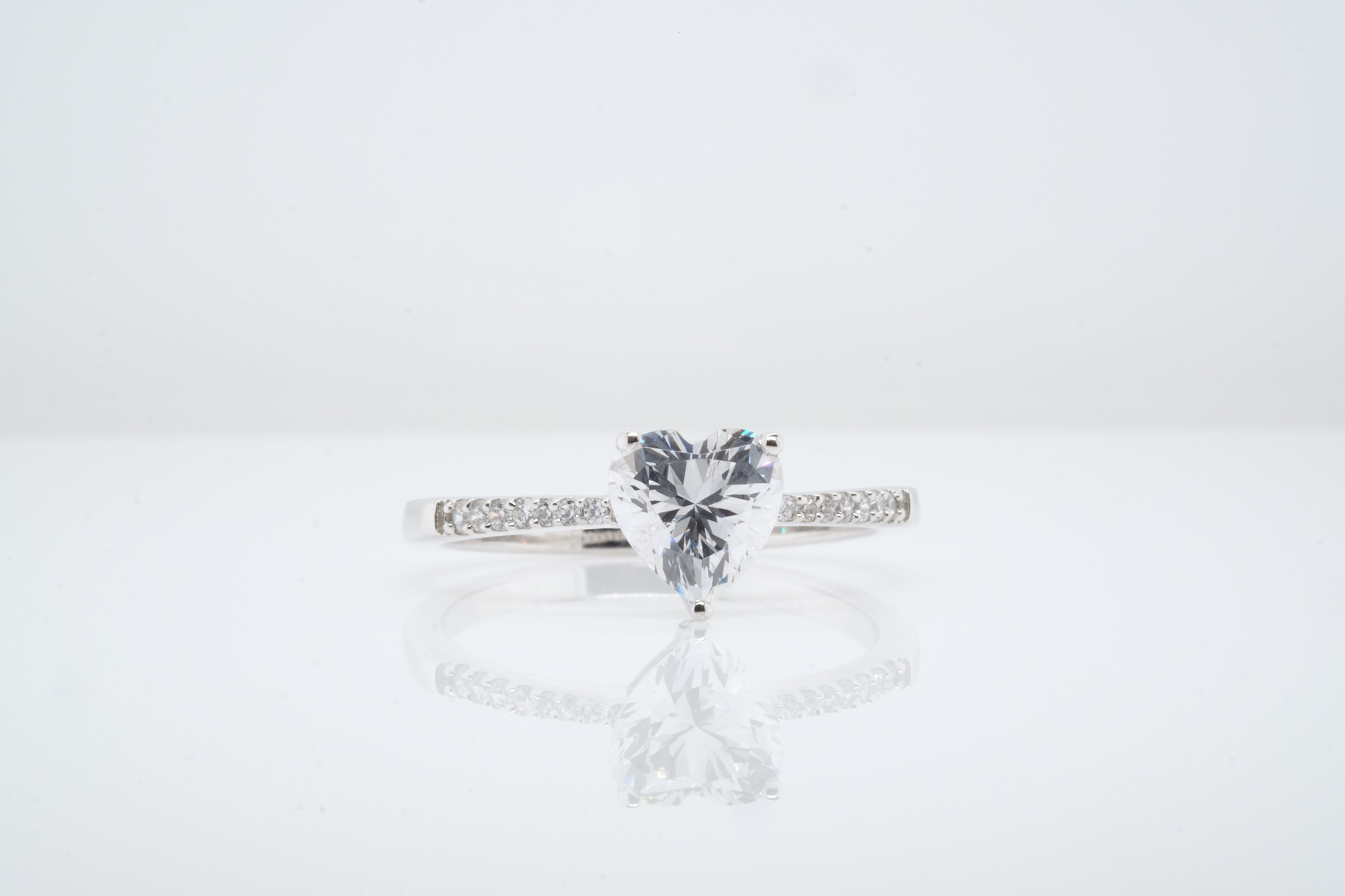 Goddess Astraea Ethereal Solitaire Heart Ring