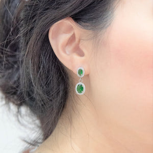Goddess Veritas Fantasia Twin Green Dangle Earrings
