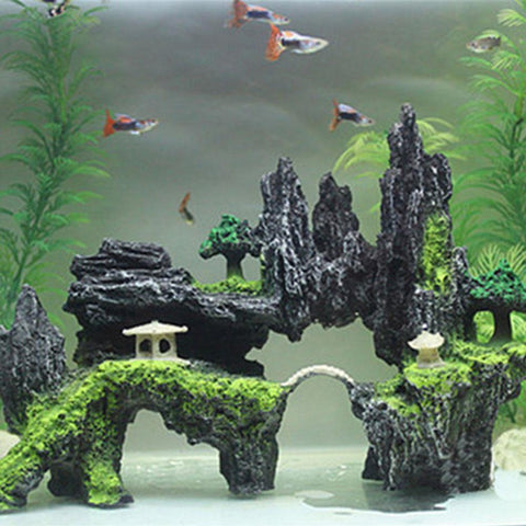 AsyPets Resin Rockery Stone Fish Tank Landscaping Aquarium Decoration Rockery Mountain Hiding Cave Pet Supplies-25