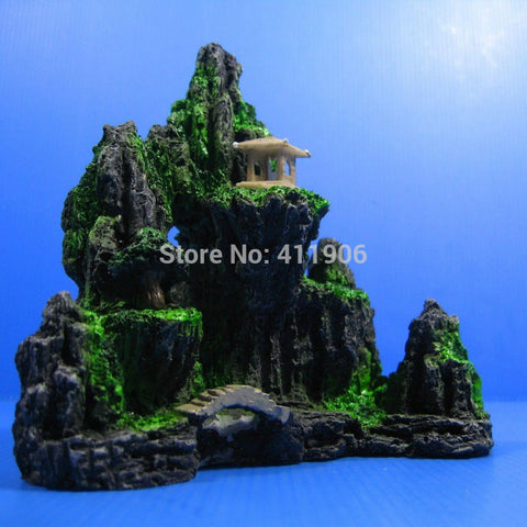 Mountain View Aquarium Ornament Pavilion Rock Cave Bridge Fish Tank Decoration free shipping