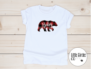 Kids Plaid Little Bear Short Sleeve T-Shirt