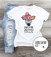 "Load image into Gallery viewer, Women's ""Just a girl who loves cows"" Short Sleeve T-Shirt"