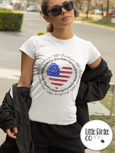 "Load image into Gallery viewer, Women's ""America Heart"" Short Sleeve T-Shirt"
