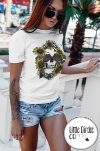 "Women's ""Sunflower Skull"" Short Sleeve T-Shirt"