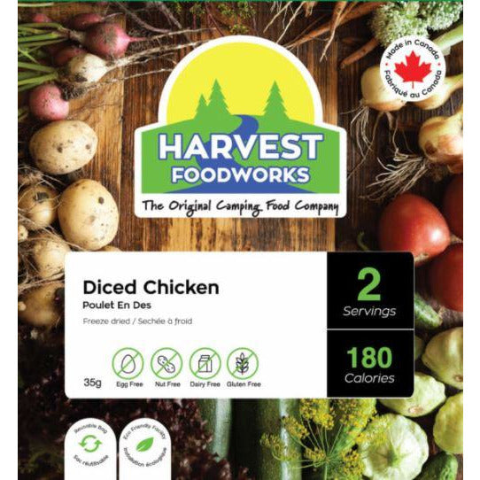 Harvest Foodworks Freeze Dried Diced Chicken 4P