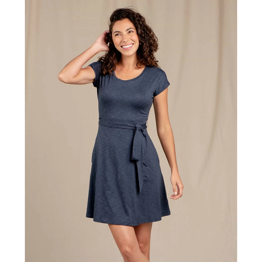 Toad and Co Cue Wrap Short Sleeve Dress - NAVY