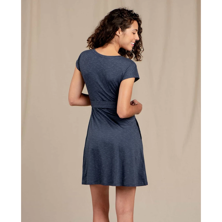Toad and Co Cue Wrap Short Sleeve Dress Women's - NAVY