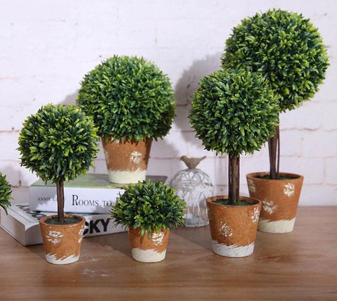 Buisson artificiel en pot rustique