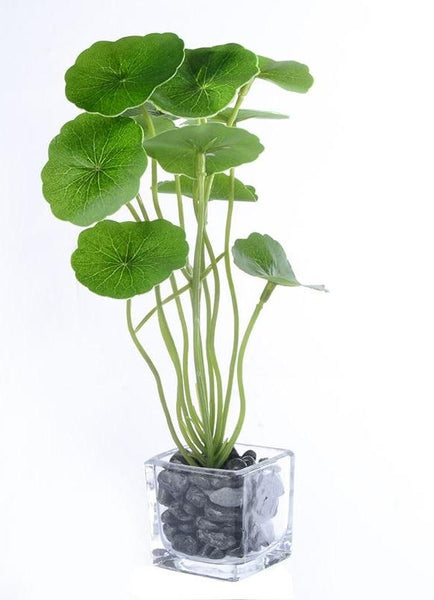 Plante tropicale artificielle et son pot, 22 cm