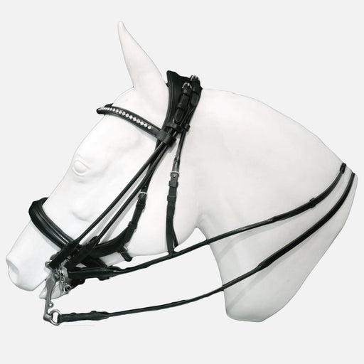 "Tota Comfort System ""Exuma"" Rolled Double Bridle-Full ear cutback headstall with center channel to reduce pressure on atlas. Same as Andros but with rolled cheek pieces and reins."