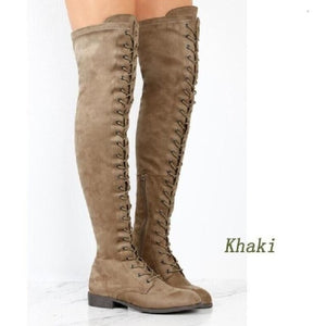 Boots,Over the knee Lace-up Riding Boots