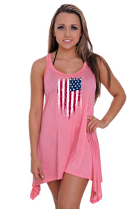 Women's USA Flag Distressed Flare Dress Swimwear Cover-up