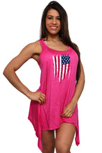 Load image into Gallery viewer, Women - Apparel - Swimwear - Cover Ups,Women's USA Flag Distressed Flare Dress Swimwear Cover-up