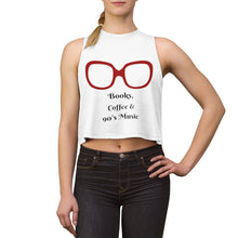Load image into Gallery viewer, Tank Top,Books Coffee and 90's Music Crop Top