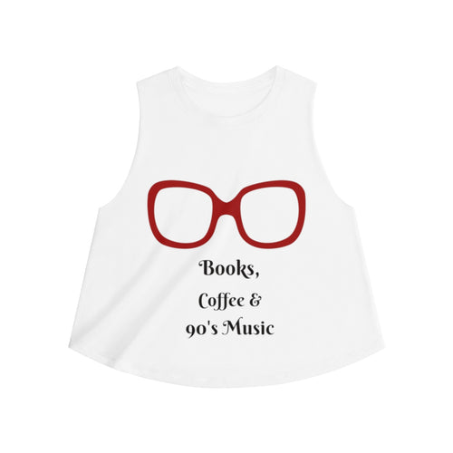 Books Coffee and 90's Music Crop Top