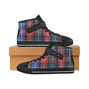 Aquila Strap Women's Shoes (1202),plaid black Aquila Strap Women's Shoes (Model 1202)