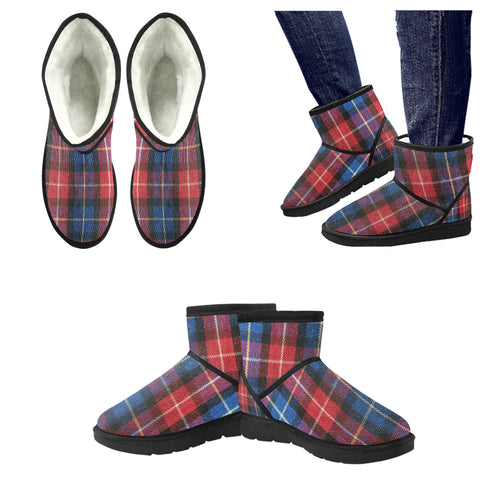 Low Top Unisex Snow Boots (049),plaid Low Top Unisex Snow Boots (Model 049)