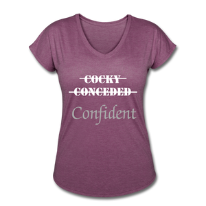 Women's Tri-Blend V-Neck T-Shirt,Confident Women's T-shirt