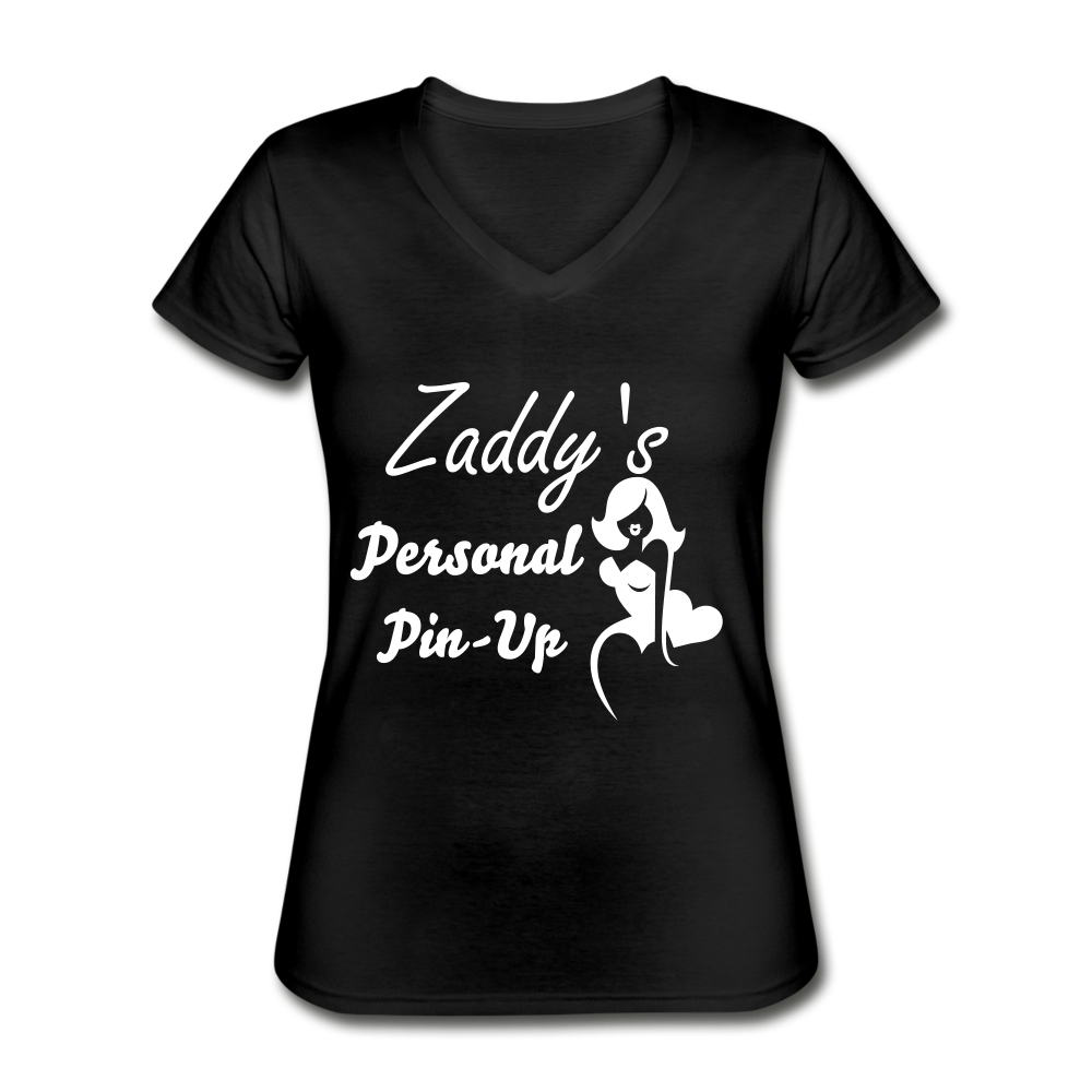 Women's V-Neck T-Shirt,Zaddy's Personal Pin-Up