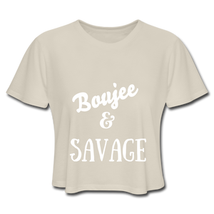 Women's Cropped T-Shirt,Boujee & Savage