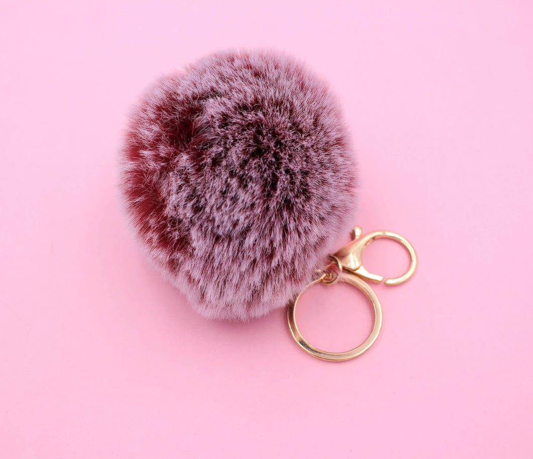 Pom Pom Key chain - Heather Burgandy