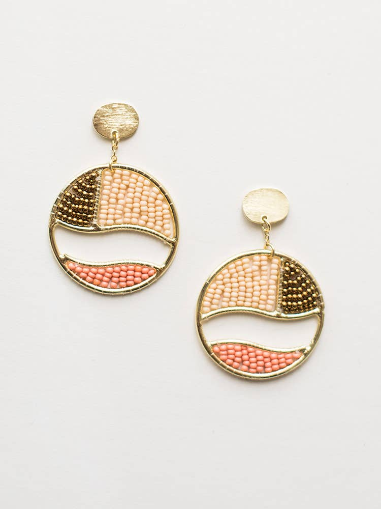 Mata Traders - Beaded Canvas Earrings Gold