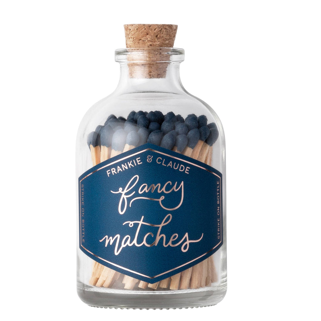 Fancy Matches: Navy Blue Small Match Jar