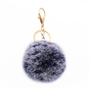 Pom Pom Key chain - Heather Blue