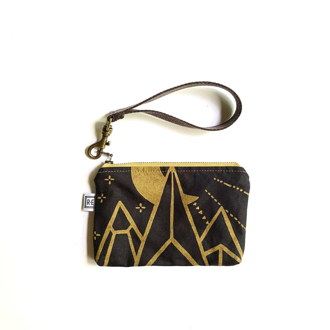 Rachel Elise - Mini Wristlet - Moonbeam // Mountain Print Clutch
