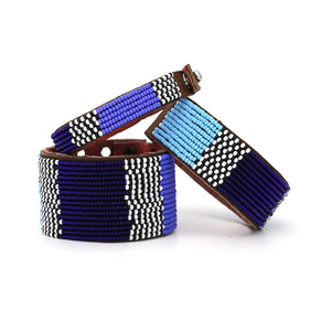 Medium Width Beaded Leather Cuff