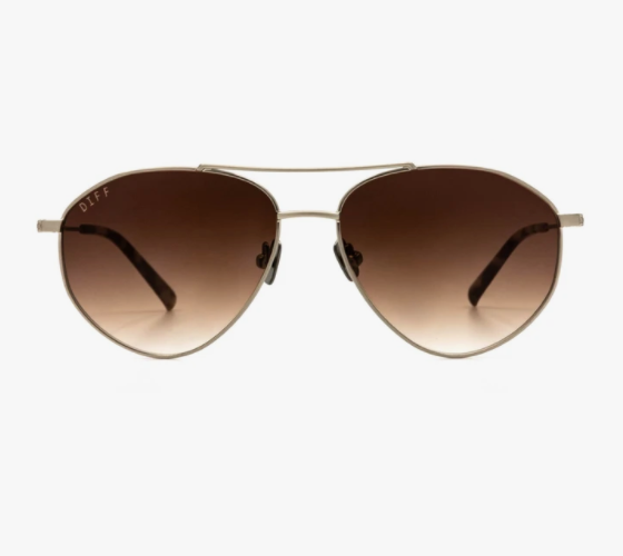 DIFF Scout Sunglasses- Brushed Silver + Brown Gradient