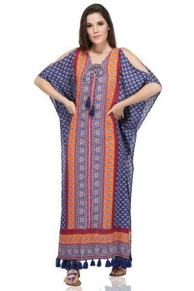 A&B America & Beyond Dress Navy Boho Printed Maxi Coverup