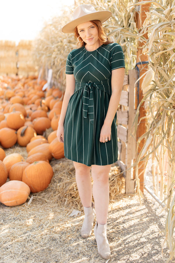 Ave Shops Womens Angles And Stripes Dress in Hunter Green
