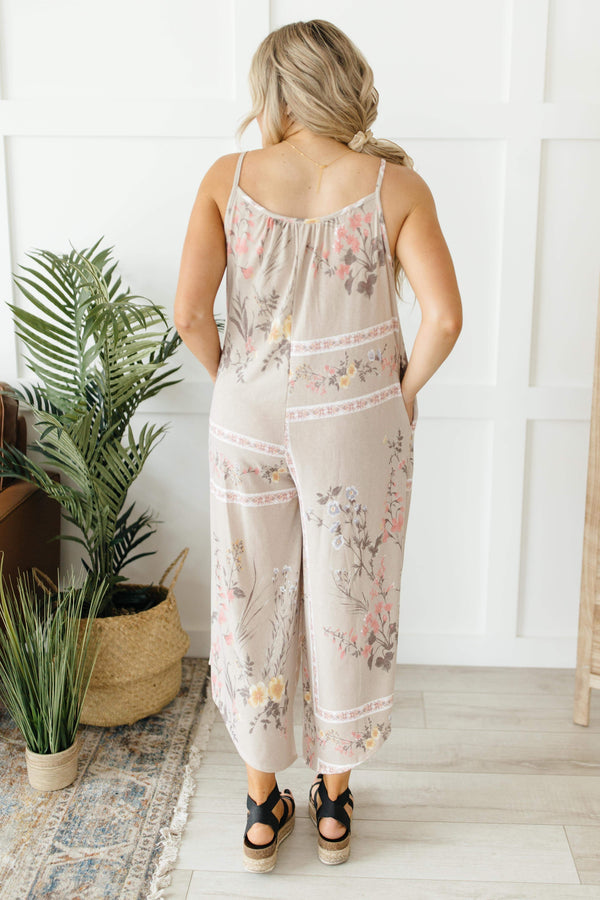 Ave Shops Womens Boho Taupe Floral Jumpsuit
