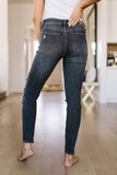 Ave Shops Womens Devastated Faded Black Jeans