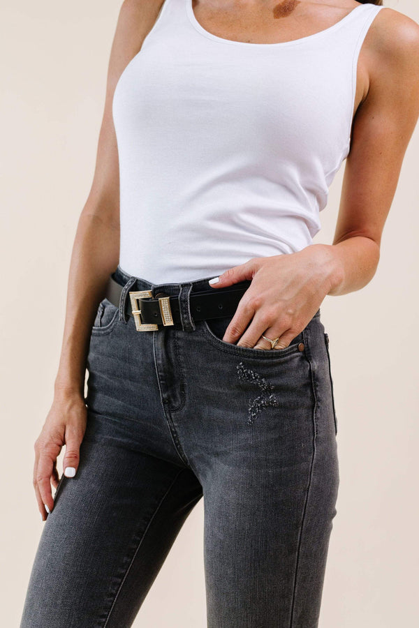 Ave Shops Womens Just A Little Bling Belt In Black