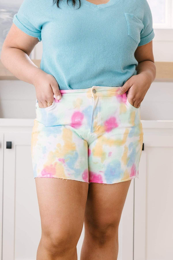 Ave Shops Womens Pastel Tie Dye Cutoff Shorts