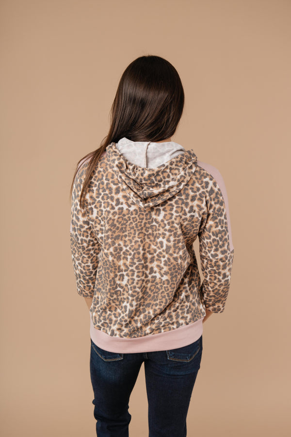 Ave Shops Womens Pink Leopard Hoodie
