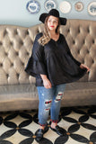 Ave Shops Womens Salina Satin Top in Black