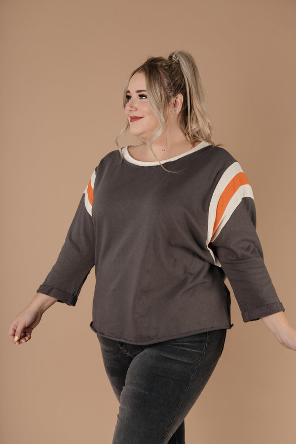 Ave Shops Womens Sporty Stripe Pullover In Charcoal