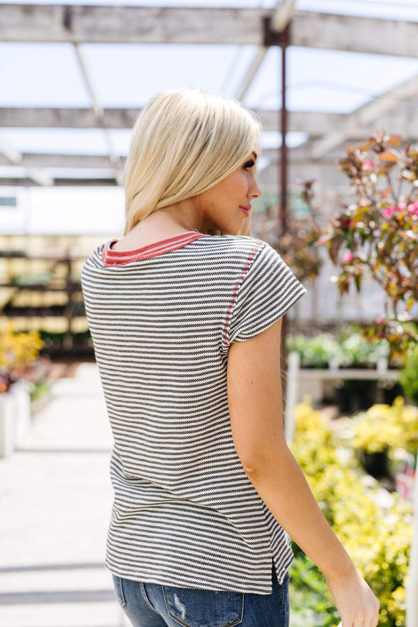 Ave Shops Womens Striped Ringer Tee