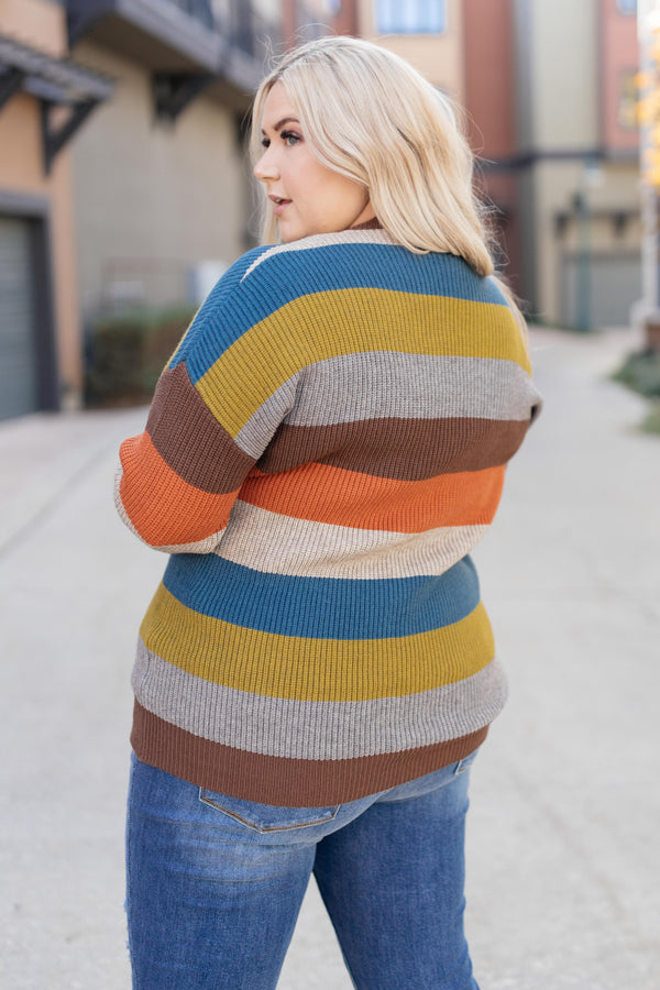 Ave Shops Womens Summoning Fall Striped Sweater