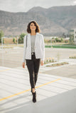 Ave Shops Womens Tweedle Dee-lightful Tweed Blazer In Ivory