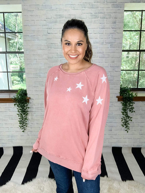 Easel Top Deep Coral / 1X Oh My Stars Pullover Top