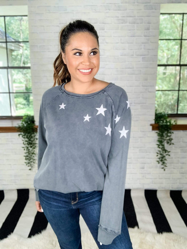 Easel Top Smoke / 1X Oh My Stars Pullover Top